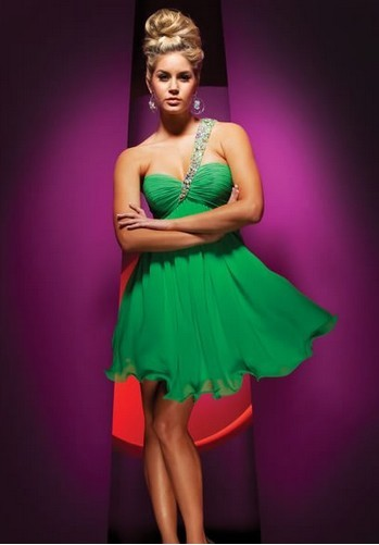 Ena axeln GREEN beading älskling prinsessa hem kommande / coctailstudentbalklänningen