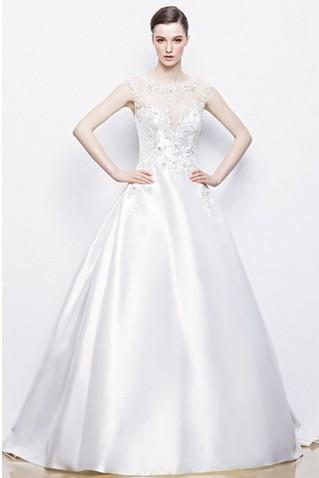 2014 retro elegant enkel Bröllopsklänningar